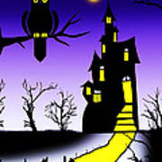 An Owl Some Cats And A Spooky House Art Print