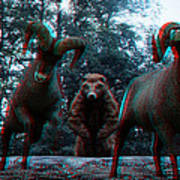 Anaglyph Wild Animals Art Print