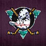 Anaheim Ducks Hockey Team Retro Logo Vintage Recycled California License Plate Art Art Print