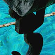 Ancher In Water Santorini Greece Art Print