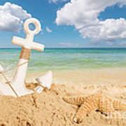 Anchor On The Beach Art Print