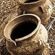 Ancient Pottery In Sepia Art Print