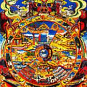 Ancient Tibetan Tangka Wheel Of Life Art Print
