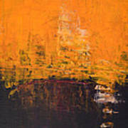 Ancient Wisdom Orange Brown Abstract By Chakramoon Art Print