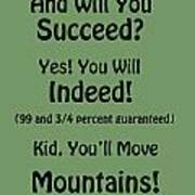 And Will You Succeed - Dr Seuss - Sage Green Art Print