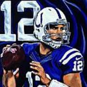 Andrew Luck Art Print by Chris Eckley