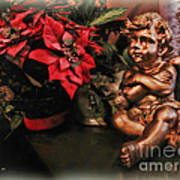 Angel And Poinsettia Art Print