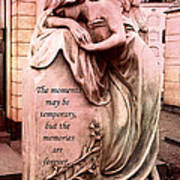 Angel Art - Memorial Angel Weeping Sorrow At Grave With Inspirational Message - Memories Are Forever Art Print