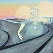 Angel Bringing Light To Meditating Woman At The Train Tracks Art Print