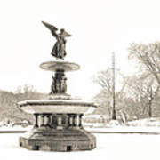 Angel Of The Waters - Central Park - Winter Art Print