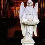 Angel Statue Offers Holy Water Art Print