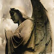 Angel Wings Praying - Spiritual Angel In Clouds Art Print
