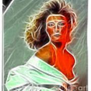 Angela Leather Red Fractal Art Print
