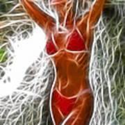 Angela Red Bikini Fractal Art Print