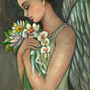 Angelical Girl With Flowers Art Print