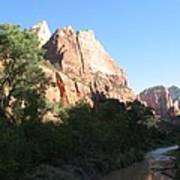 Angels Landing And Virgin River - Zion Np Art Print