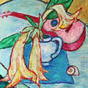 Angel's Trumpet Flowers And A Ukulele Art Print