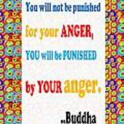 Anger Buddha Wisdom Quote Buddhism   Background Designs  And Color Tones N Color Shades Available Fo Art Print