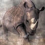 Angry Rhino Art Print