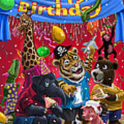 Animal Birthday Party Art Print by Martin Davey