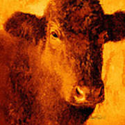 animals- cows- Brown Cow Art Print by Ann Powell