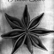 Anise Star Single Text Distressed Black And Wite Art Print