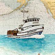 Ann Kathleen Crab Fishing Boat Nautical Chart Map Art Art Print