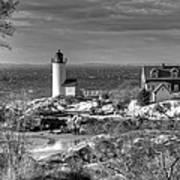 Annisquam Lighthouse Black And White Art Print