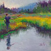 Another Cast - Fishing In Alaskan Stream Art Print