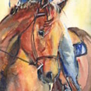 Horse In Watercolor Another Sunrise Art Print