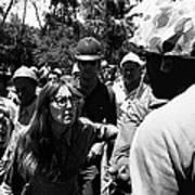 Anti-viet Nam War Protestor Confronting Smoking Marine Pro-war March Tucson Arizona 1970  Art Print