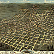 Antique Bird's-eye View Map Of Atlanta 1871 Art Print