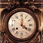 Antique Clock In Sepia Art Print