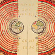 Antique Illustrative Map Of The Ptolemaic Geocentric Model Of The Universe 1568 Art Print