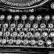 Antique Keyboard - Bw Art Print