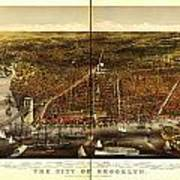 Antique Map Of Brooklyn Art Print