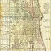 Antique Map Of Chicago Art Print