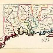 Antique Map Of Connecticut  Art Print