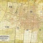 Antique Map Of Del Plano Oficial De La Ciudad De Mexico Art Print