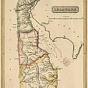 Antique Map Of Delaware By Fielding Lucas - Circa 1817 Art Print