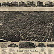 Antique Map Of Fort Worth Texas By H. Wellge - 1886 Art Print
