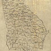 Antique Map Of Georgia - 1893 Art Print