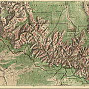 Antique Map Of Grand Canyon National Park By The National Park Service - 1926 Art Print