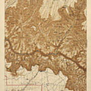 Antique Map Of Grand Canyon National Park - Usgs Topographic Map - 1903 Art Print