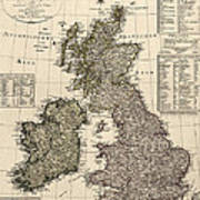 Antique Map Of Great Britain And Ireland By I. G. A. Weidner - 1801 Art Print