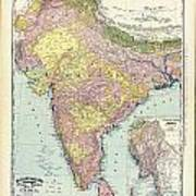 Antique Map Of India - Further India Art Print