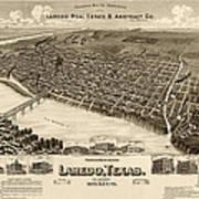 Antique Map Of Laredo Texas - Circa 1892 Art Print