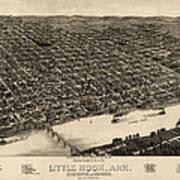 Antique Map Of Little Rock Arkansas By H. Wellge - 1887 Art Print