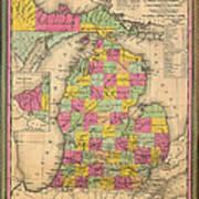 Antique Map Of Michigan 1853 Art Print
