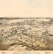 Antique Map Of New Braunfels Texas 1881 Art Print